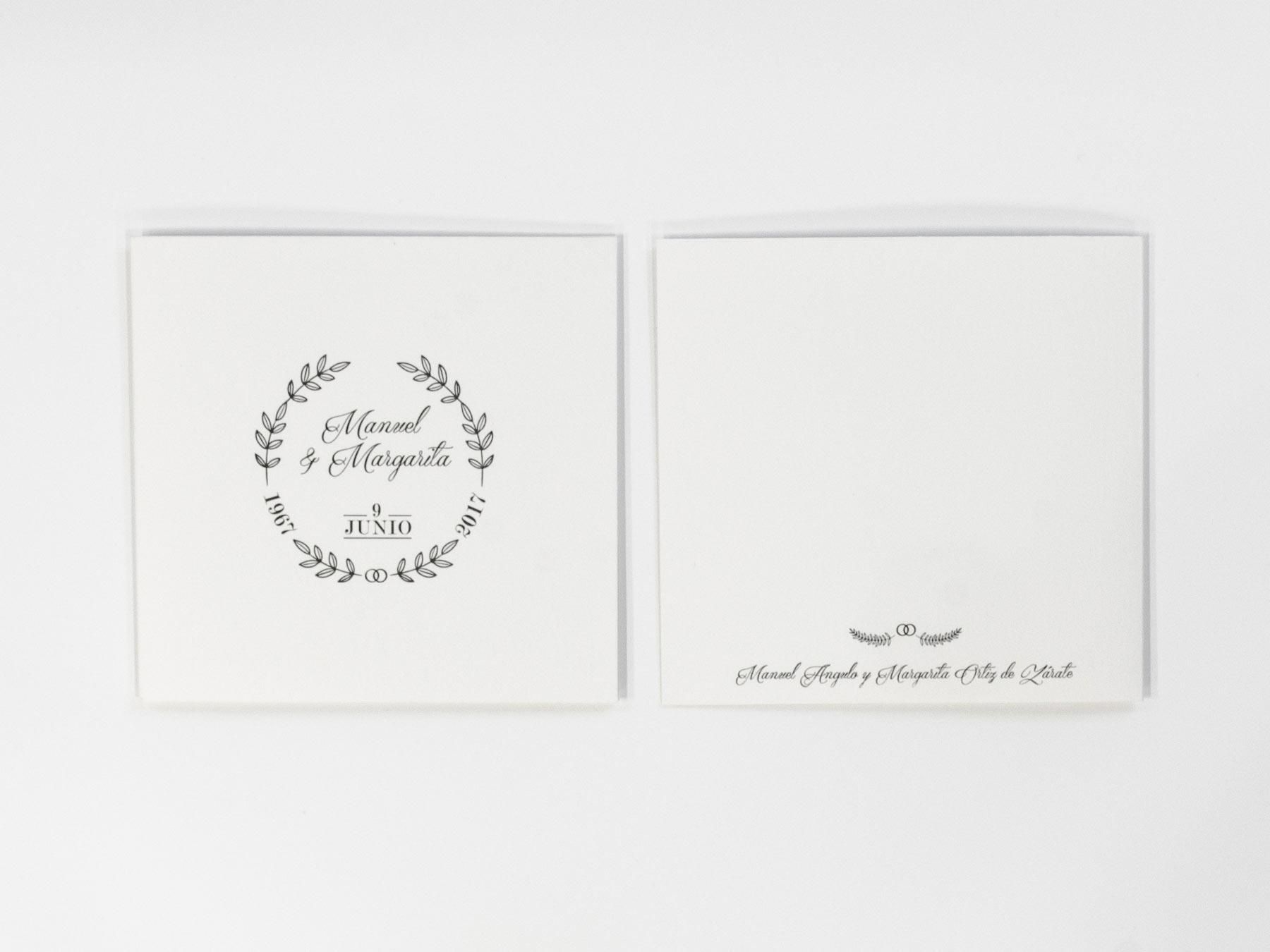 anverso y reverso invitación 50 aniversario de boda